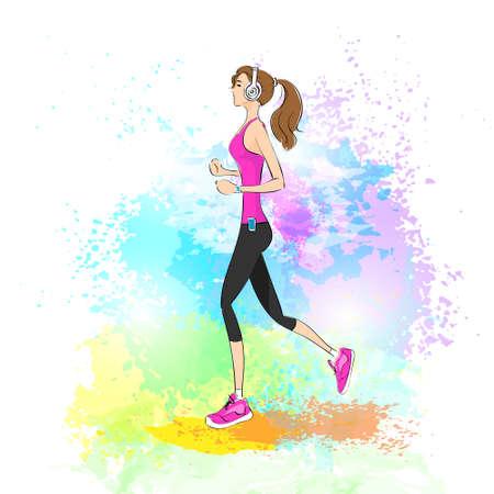 woman run: sport woman run with fitness tracker on wrist girl runner jogging over paint splash background training