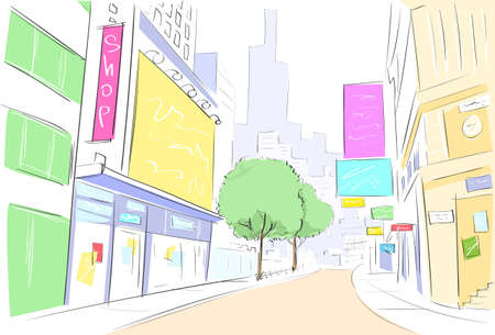 outdoor advertising construction: street city view draw sketch shops colorful buildings Illustration