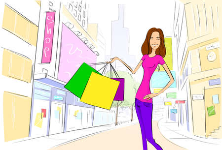 shopping woman on city street street draw sketch shops colorful buildings Vector
