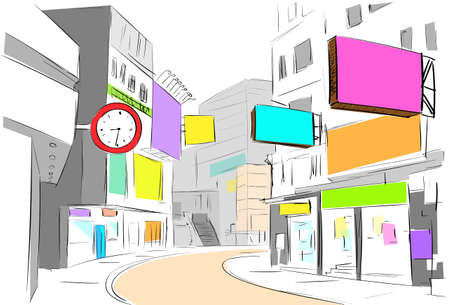 street center city view draw sketch shops colorful buildings Vector