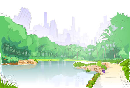 green park in city center pond trees and road path sketch