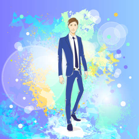 male model: Fashion man over colorful pain splash background, male model wear blue suit Illustration