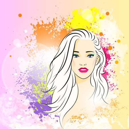sch�nes frauengesicht: sch�ne Frau Gesicht Colorful Farbe malen Spritzer, junge M�dchen, Skizze Illustration