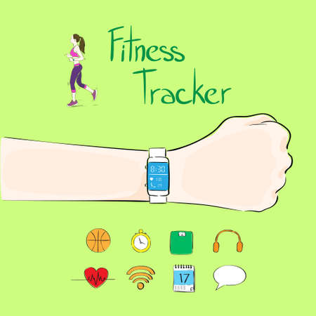smart girl: hand fitness tracker wrist sport bracelet woman exercise workout girl wear smart watch flat icon
