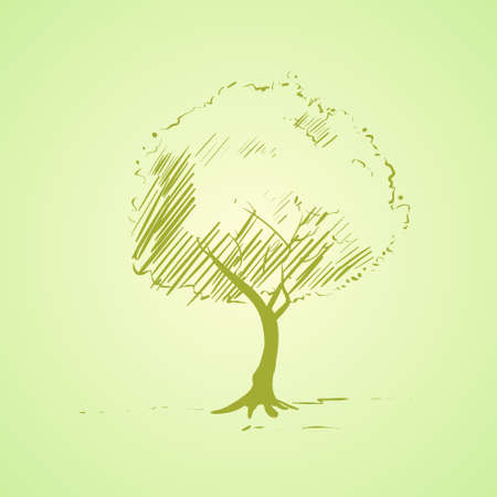tree trunks: green tree sketch bright silhouette vector Illustration
