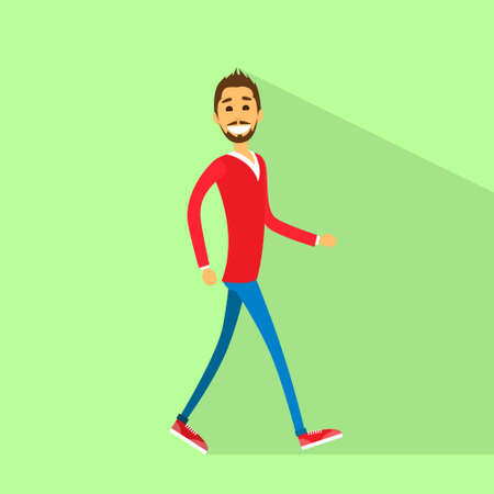walking away: casual happy man walking side flat vector