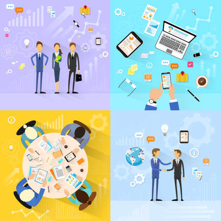 business desk: business people group working set, handshake meeting, team working flat design Illustration