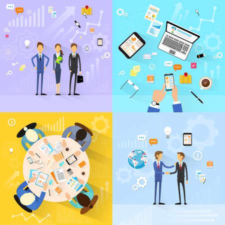 La gente de negocios conjunto de trabajo en grupo, reuniones apretón de manos, equipo de trabajo diseño plano Foto de archivo - 36778829