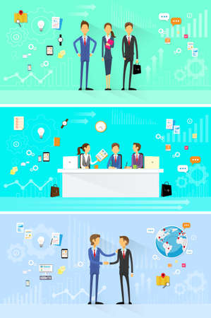 business people group working set, handshake meeting, team working flat design Illustration