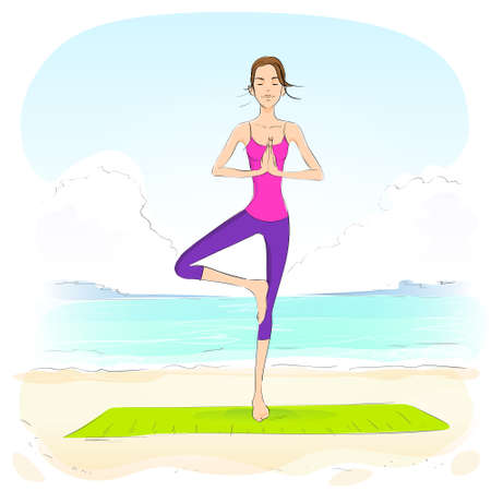 closed eyes: woman standing in yoga lotus position closed eyes relaxing doing exercises