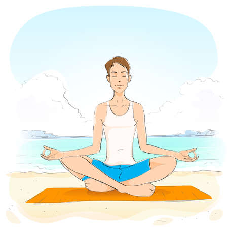 closed eyes: man sitting in yoga lotus position closed eyes relaxing doing exercises Illustration