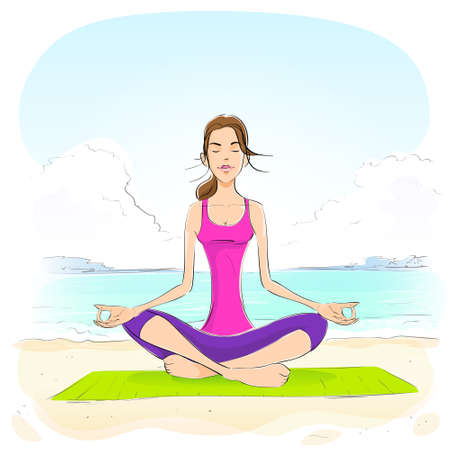 closed eyes: woman sitting in yoga lotus position closed eyes relaxing doing exercises Illustration