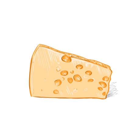 chees: cheese yellow color sketch draw isolated over white background