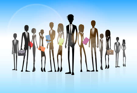 executives: Business people group silhouette executives team Illustration