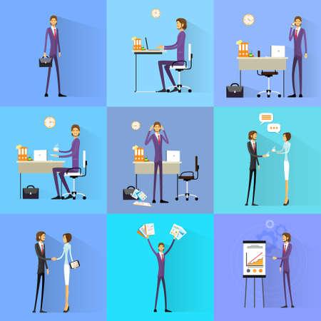Hombre de negocios trabajando diseño plano establecido escritorio de oficina Ilustración de vector