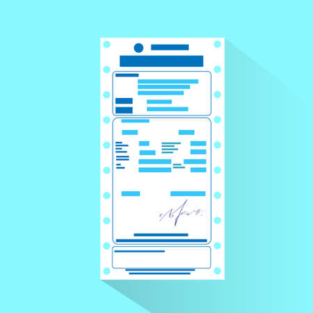 account form: financial bill document, invoice order payment check flat design Illustration