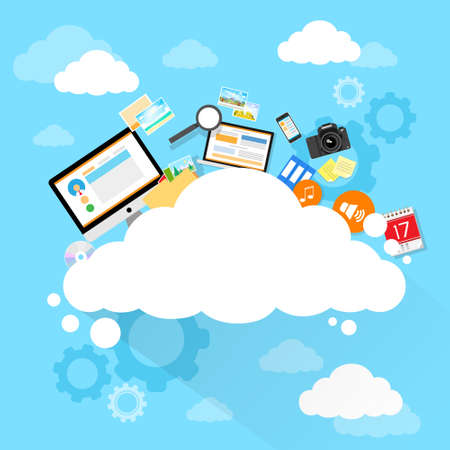 web hosting: Cloud computing technology device set internet data information storage Illustration
