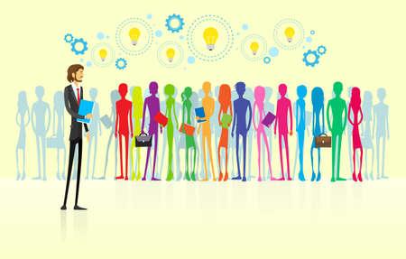 lider: grupo de personas de negocios empresarios l�deres de recursos humanos de dise�o plano Vectores