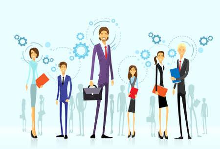 silueta humana: grupo de equipo de negocios, recursos humanos plana
