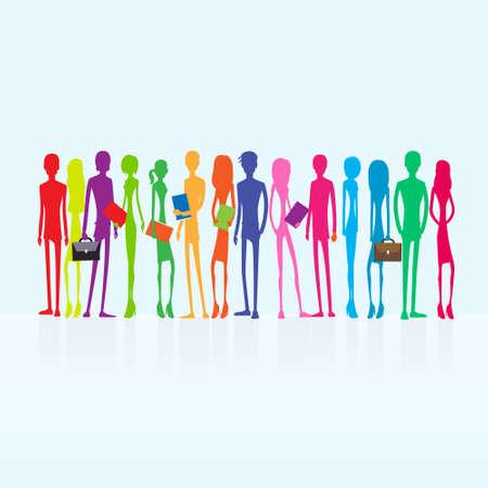 groep van kleurrijke mensen studenten bedrijfskunde Stock Illustratie
