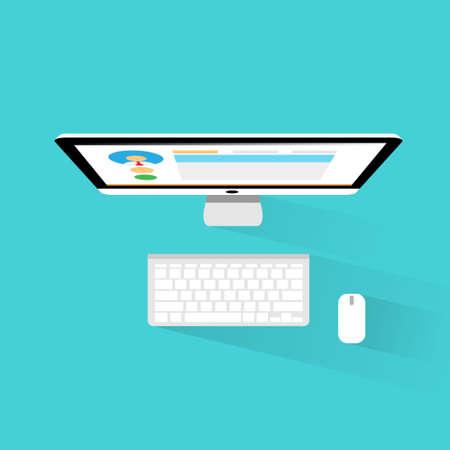 estação de trabalho: trabalho com computador topo vista workplace �cone design plano Ilustra��o