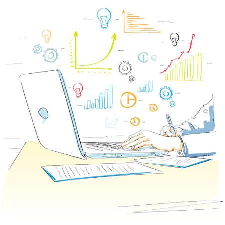 using laptop: mani schizzo con laptop disegno grafico finanziario