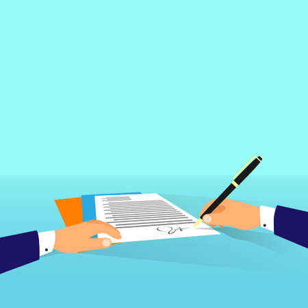 Business man document signing up contract agreement, Businessman workplace at office desk write Vettoriali