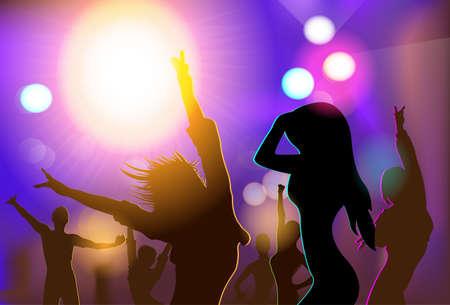 NIGHT CLUB Persone Folla silhouette danzanti Vettoriali