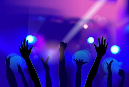 persone che ballano: Night Club Popolo Mani Silhouettes Celebration Vettoriali