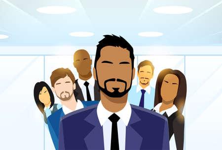 leader: Gente de negocios l�der de grupo del equipo diverso Vectores