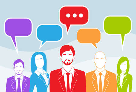 business communication: Business People Group Chat Colorful Communication
