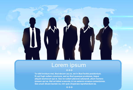 world group: Business People Group Silhouette Executives Team with Banner Board Copy Space Vector Illustration