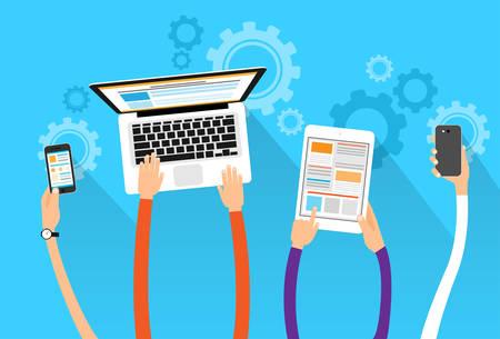 ordinateur bureau: longues mains tiennent électronique de l'appareil concept de gadget portable tablette de téléphone plat illustration vectorielle