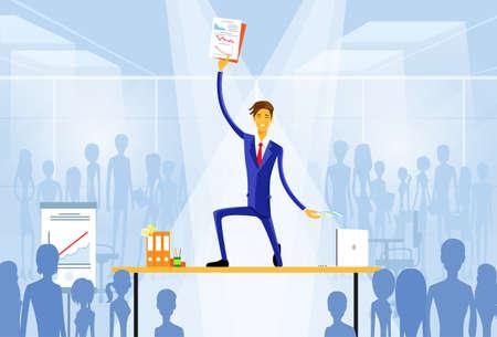 lider: hombre de negocios de pie en el escritorio con documentos Vectores