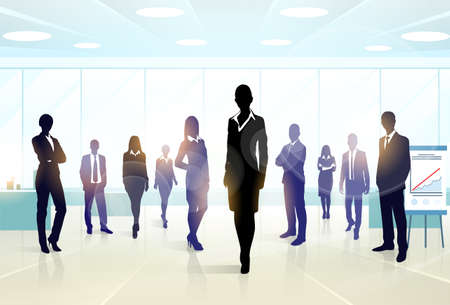 ejecutivo en oficina: Business Team personas Grupo Silueta Ejecutivos