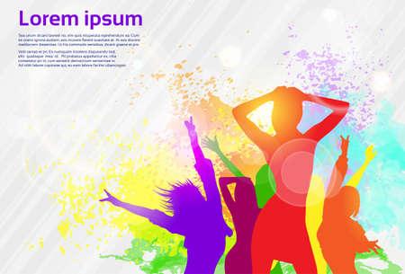 taniec: Taniec Kolorowe farby powitalny Taniec dziewczyny banner Ilustracja