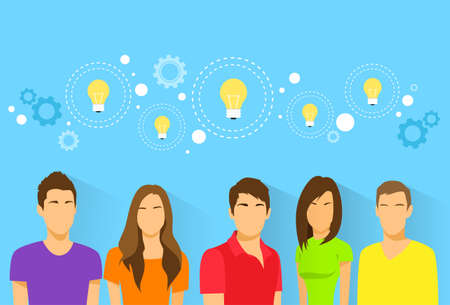 business communication: creative students team idea, diverse group of people icon avatar