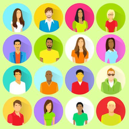 ethnic mix: profile set icon avatar mix race ethnic Illustration
