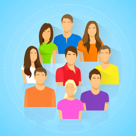 diverse group: diverse group of people icon avatar man and woman Illustration