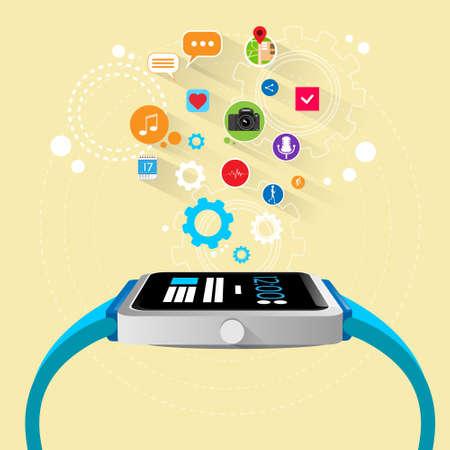 manzana: dispositivo electrónico reloj inteligente nueva tecnología con aplicaciones Vectores