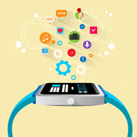 smart phone hand: smart watch new technology electronic device with apps