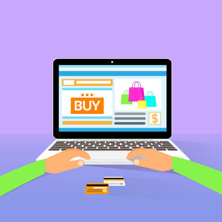 laptop screen: laptop on line shopping hands type buy flat design Illustration