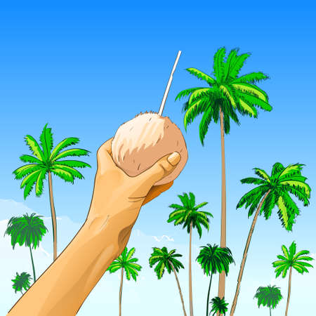 hold: touris hand hold coconut with straw over palm tree