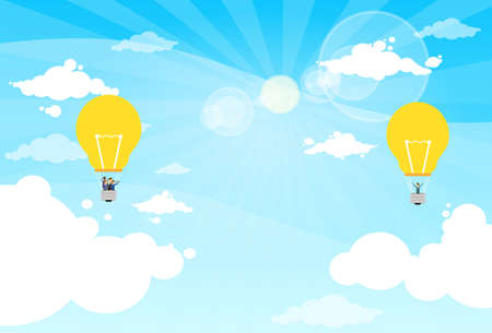 man in air: Business People Group Fly Air Balloon Light Bulb Idea Illustration