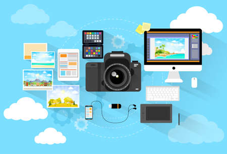 workspace: photographer workspace desk with camera computer icon flat design