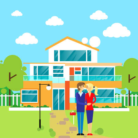 family outside house: couple embracing in front of new big modern house, dream
