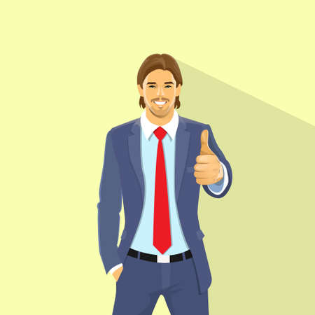 Business Man Hold Hand With Thumb Up Gesture Stock Illustratie