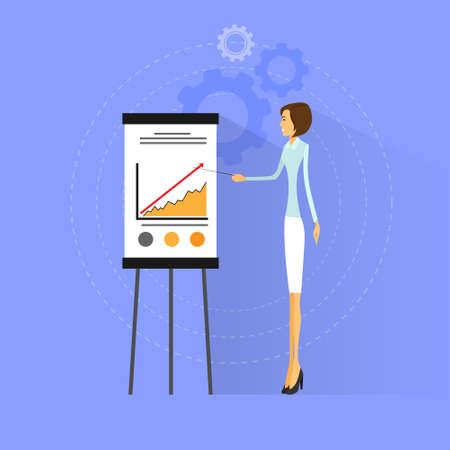 briefing: businesswoman show graph flat design vector