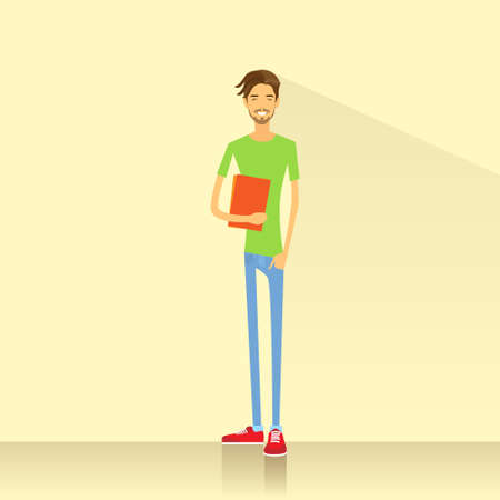 teenage couple: Young man student hold books casual clothes