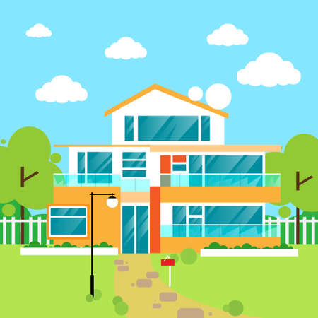 family outside house: big modern villa house flat design vector